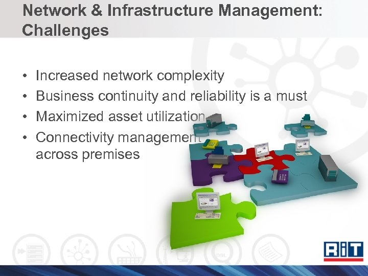 Network & Infrastructure Management: Challenges • • Increased network complexity Business continuity and reliability