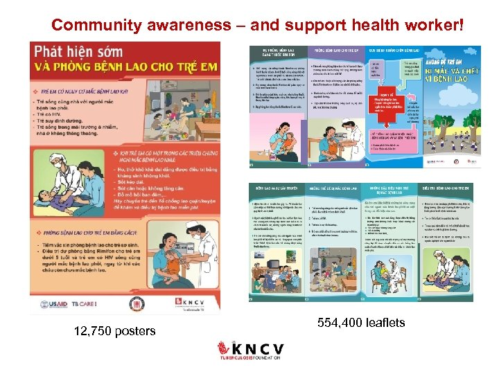Community awareness – and support health worker! 12, 750 posters 554, 400 leaflets