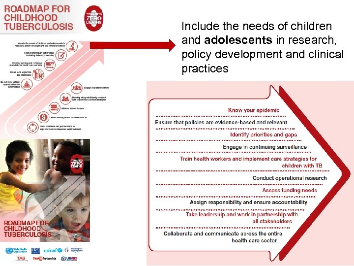 Include the needs of children and adolescents in research, policy development and clinical practices
