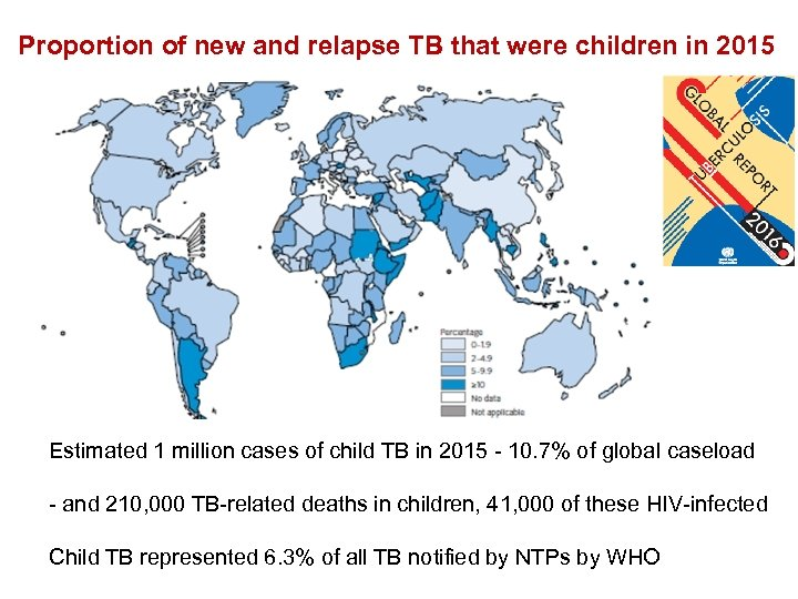 Proportion of new and relapse TB that were children in 2015 Estimated 1 million