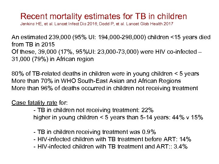 Recent mortality estimates for TB in children Jenkins HE, et al. Lancet Infect Dis