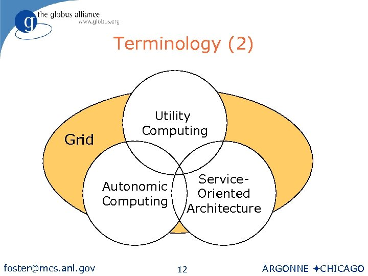 Terminology (2) Grid Utility Computing Autonomic Computing foster@mcs. anl. gov Service. Oriented Architecture 12