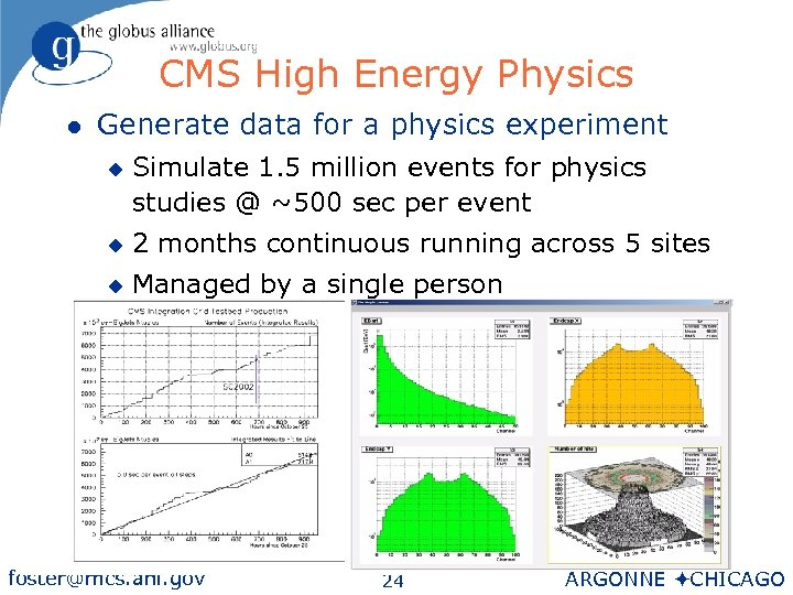 CMS High Energy Physics l Generate data for a physics experiment u Simulate 1.