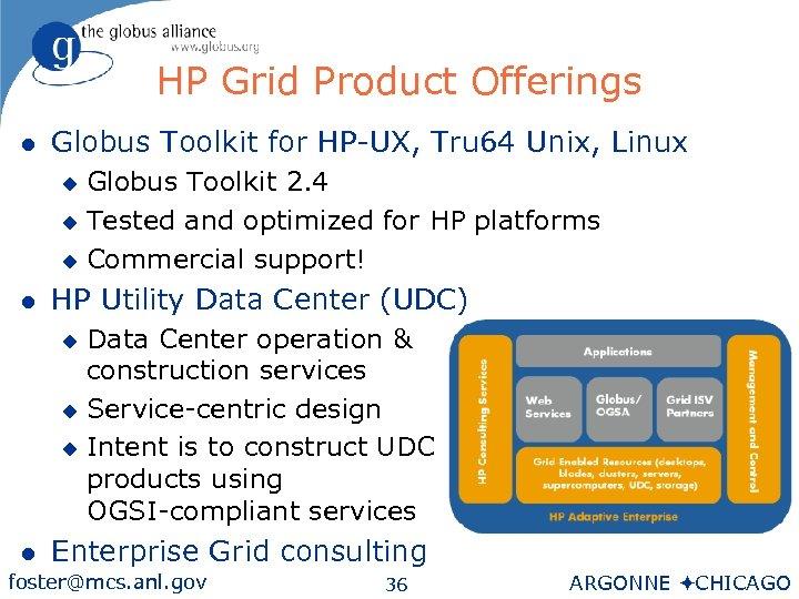 HP Grid Product Offerings l Globus Toolkit for HP-UX, Tru 64 Unix, Linux Globus