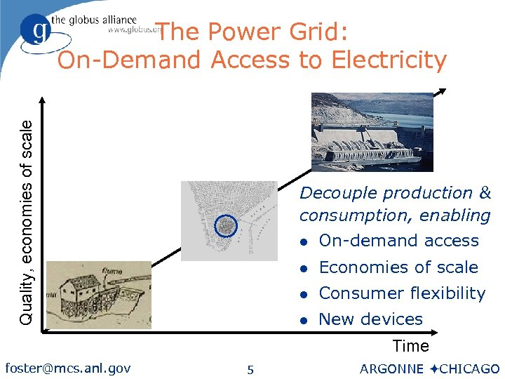 Quality, economies of scale The Power Grid: On-Demand Access to Electricity Decouple production &