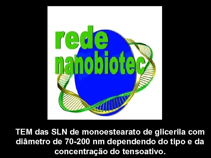 TEM das SLN de monoestearato de glicerila com diâmetro de 70 -200 nm dependendo