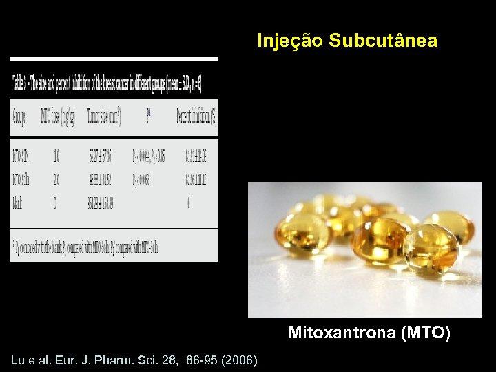 Injeção Subcutânea Mitoxantrona (MTO) Lu e al. Eur. J. Pharm. Sci. 28, 86 -95