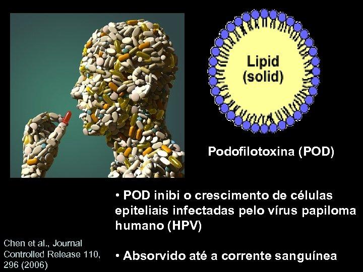 Podofilotoxina (POD) • POD inibi o crescimento de células epiteliais infectadas pelo vírus papiloma