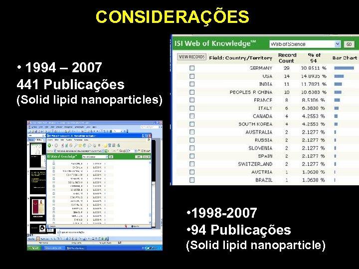 CONSIDERAÇÕES • 1994 – 2007 441 Publicações (Solid lipid nanoparticles) • 1998 -2007 •