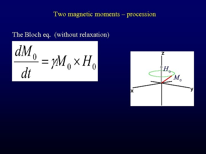 Two magnetic moments – procession The Bloch eq. (without relaxation) Ho Mo