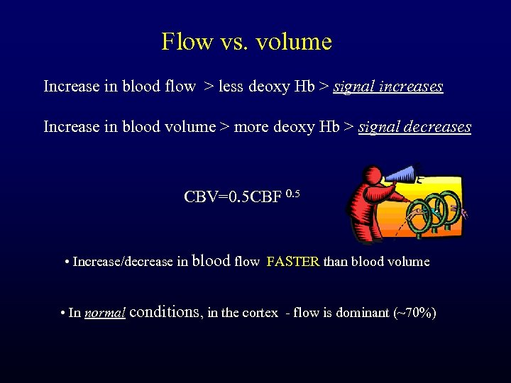 Flow vs. volume Increase in blood flow > less deoxy Hb > signal increases