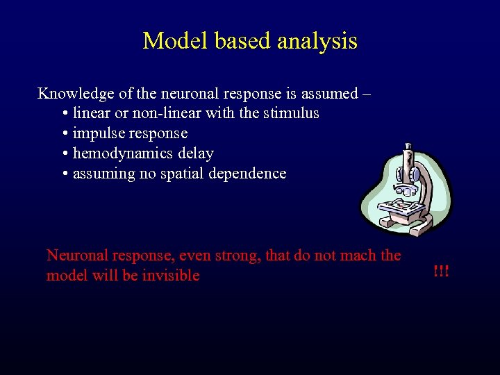 Model based analysis Knowledge of the neuronal response is assumed – • linear or