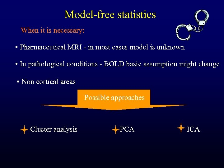 Model-free statistics When it is necessary: • Pharmaceutical MRI - in most cases model