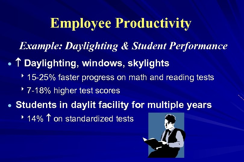 Employee Productivity Example: Daylighting & Student Performance · Daylighting, windows, skylights 815 -25% faster