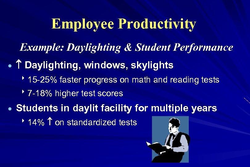 Employee Productivity Example: Daylighting & Student Performance · Daylighting, windows, skylights 815 -25% faster