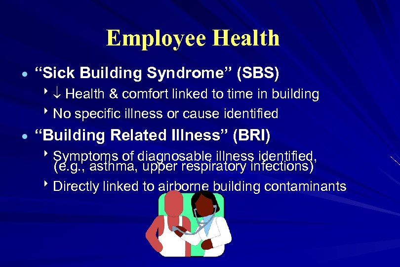 "Employee Health · ""Sick Building Syndrome"" (SBS) 8 Health & comfort linked to time"