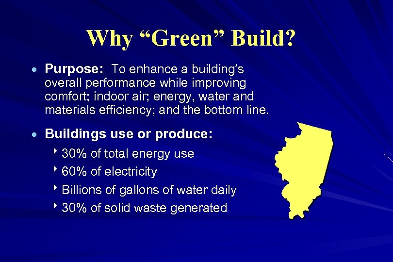 "Why ""Green"" Build? · Purpose: To enhance a building's overall performance while improving comfort;"