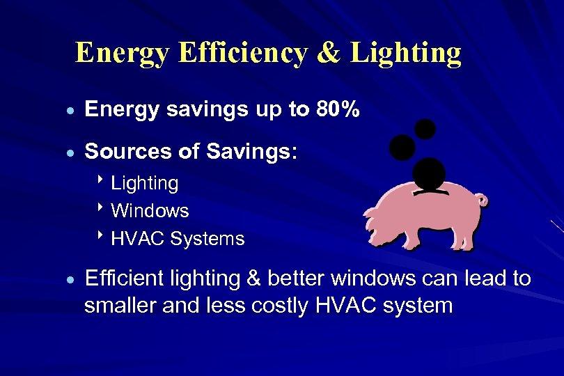 Energy Efficiency & Lighting · Energy savings up to 80% · Sources of Savings:
