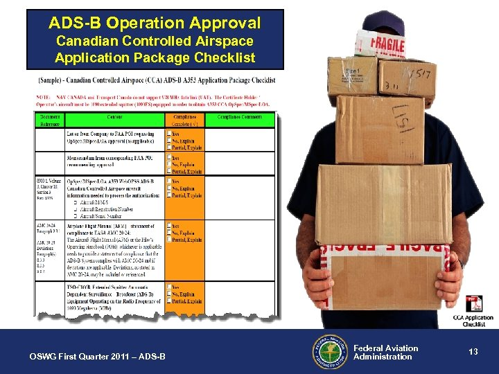 ADS-B Operation Approval Canadian Controlled Airspace Application Package Checklist OSWG First Quarter 2011 –