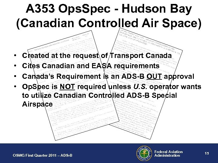 A 353 Ops. Spec - Hudson Bay (Canadian Controlled Air Space) • • Created