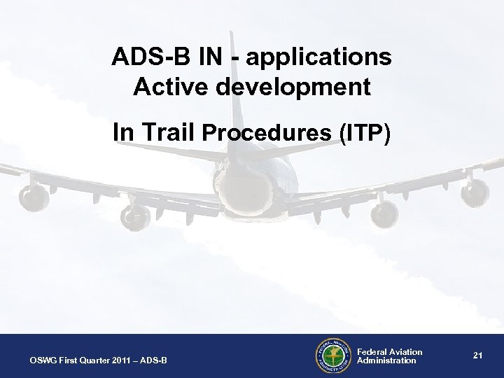 ADS-B IN - applications Active development In Trail Procedures (ITP) OSWG First Quarter 2011