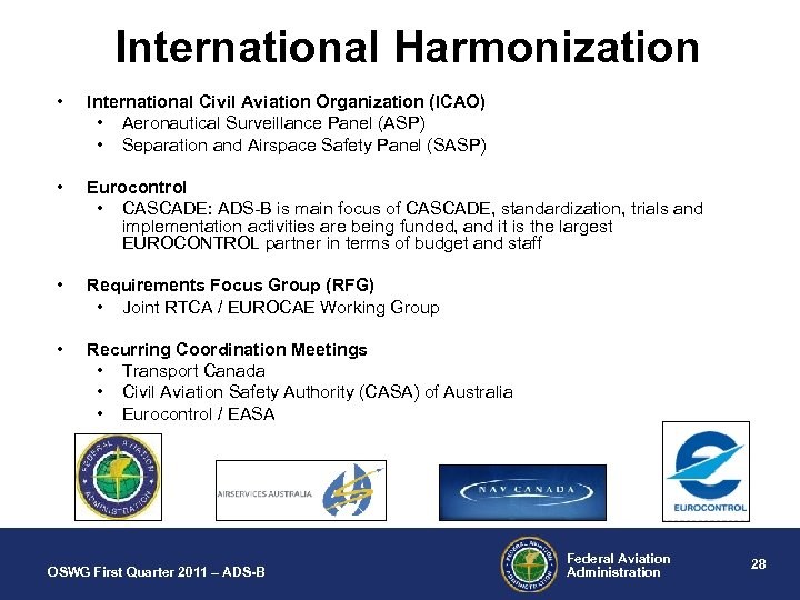 International Harmonization • International Civil Aviation Organization (ICAO) • Aeronautical Surveillance Panel (ASP) •