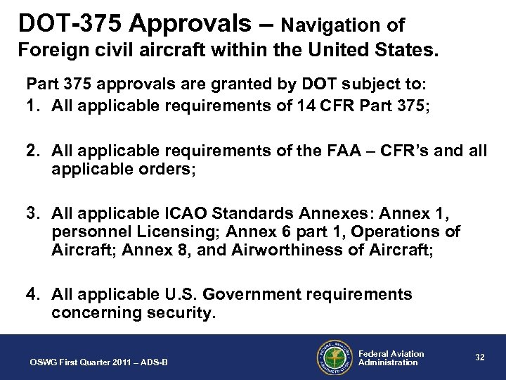 DOT-375 Approvals – Navigation of Foreign civil aircraft within the United States. Part 375