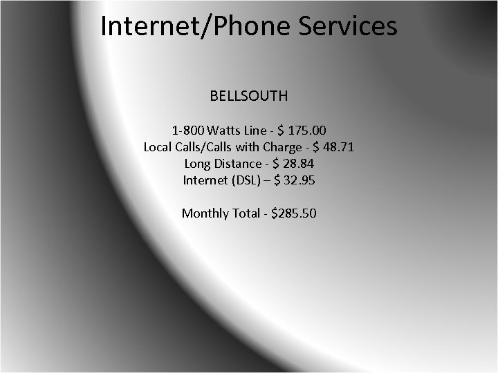 Internet/Phone Services BELLSOUTH 1 -800 Watts Line - $ 175. 00 Local Calls/Calls with