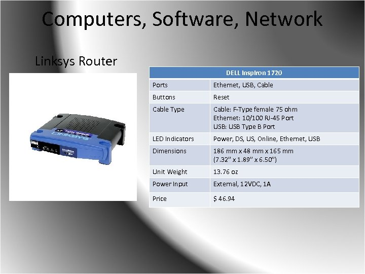 Computers, Software, Network Linksys Router DELL Inspiron 1720 Ports Ethernet, USB, Cable Buttons Reset