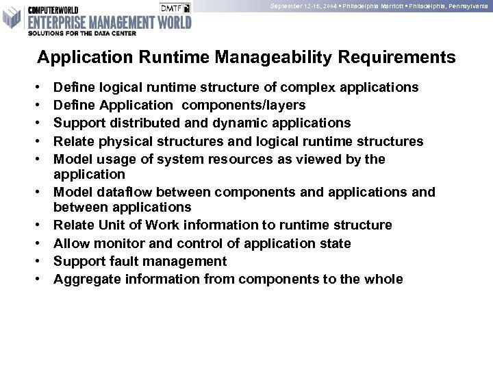 September 12 -15, 2004 • Philadelphia Marriott • Philadelphia, Pennsylvania Application Runtime Manageability Requirements
