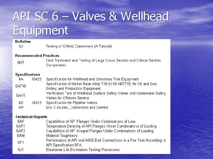 API SC 6 – Valves & Wellhead Equipment