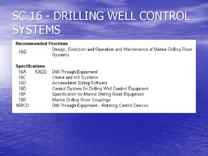SC 16 - DRILLING WELL CONTROL SYSTEMS
