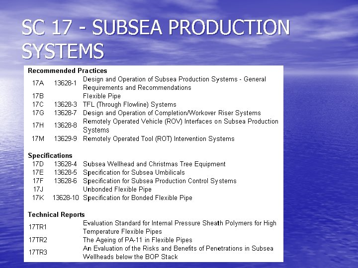 SC 17 - SUBSEA PRODUCTION SYSTEMS