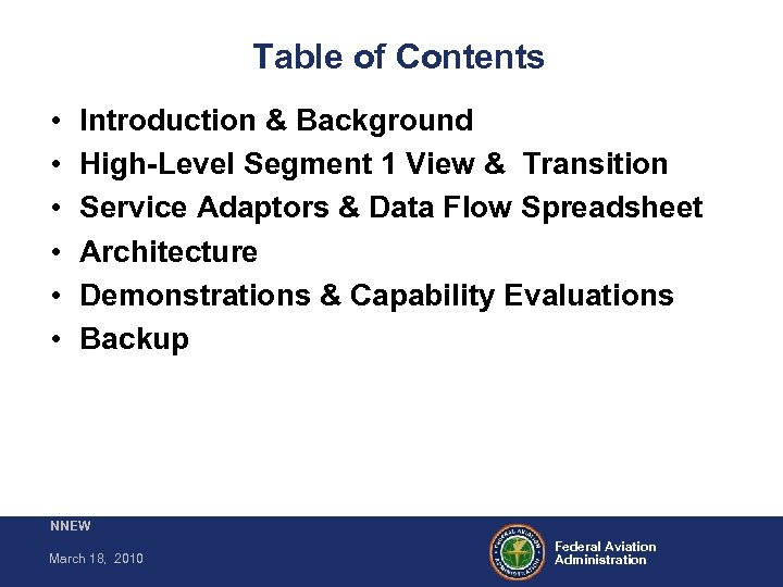 Table of Contents • • • Introduction & Background High-Level Segment 1 View &