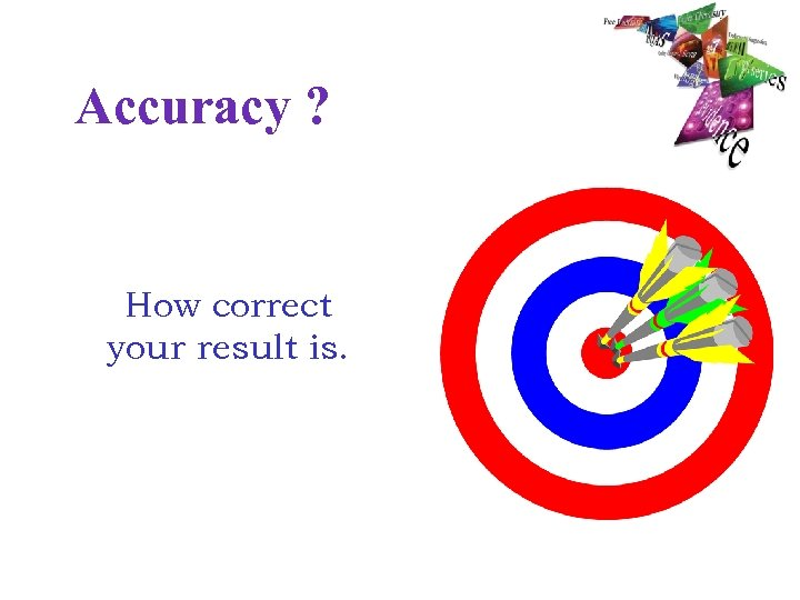 Accuracy ? How correct your result is.