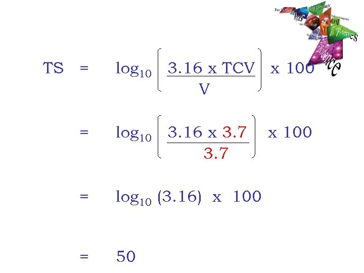 TS = log 10 3. 16 x TCV x 100 V = log 10
