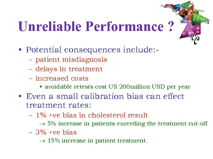 Unreliable Performance ? • Potential consequences include: – patient misdiagnosis – delays in treatment