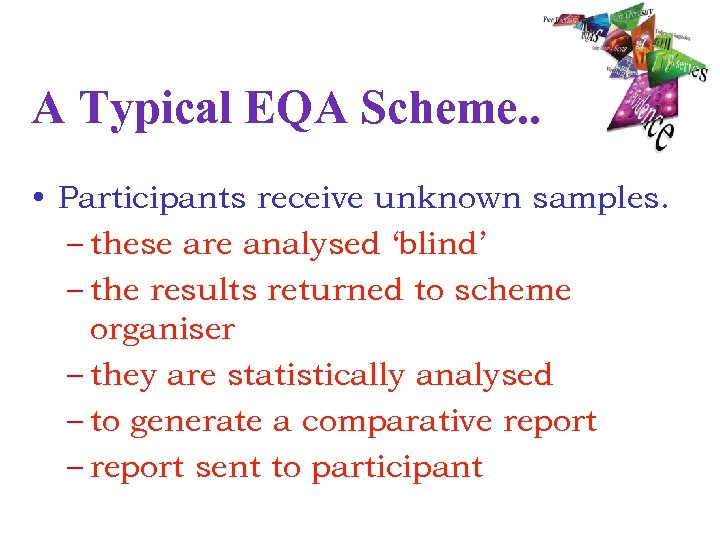 A Typical EQA Scheme. . • Participants receive unknown samples. – these are analysed