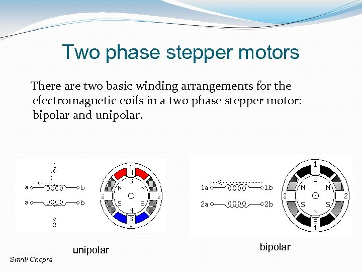 Two phase stepper motors There are two basic winding arrangements for the electromagnetic coils