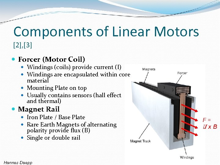 Components of Linear Motors [2], [3] Forcer (Motor Coil) Windings (coils) provide current (I)