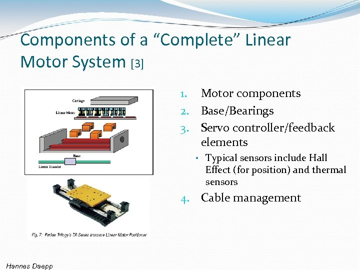 """Components of a """"Complete"""" Linear Motor System [3] 1. Motor components 2. Base/Bearings 3."""