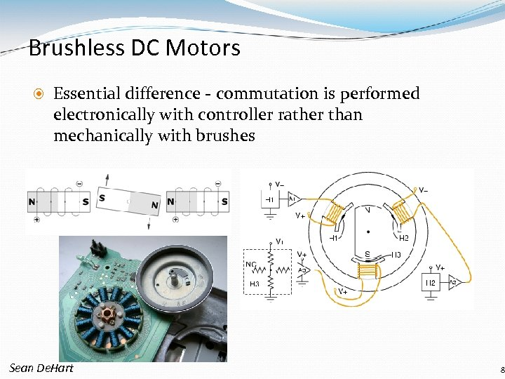 Brushless DC Motors Essential difference - commutation is performed electronically with controller rather than