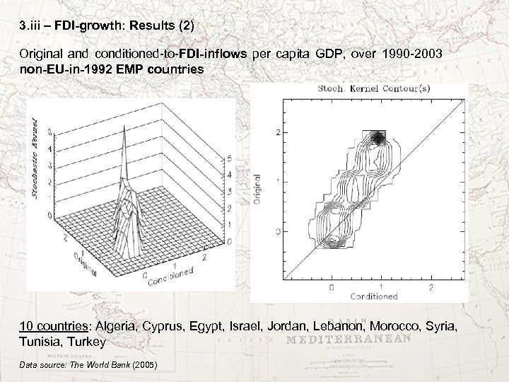 3. iii – FDI-growth: Results (2) Original and conditioned-to-FDI-inflows per capita GDP, over 1990