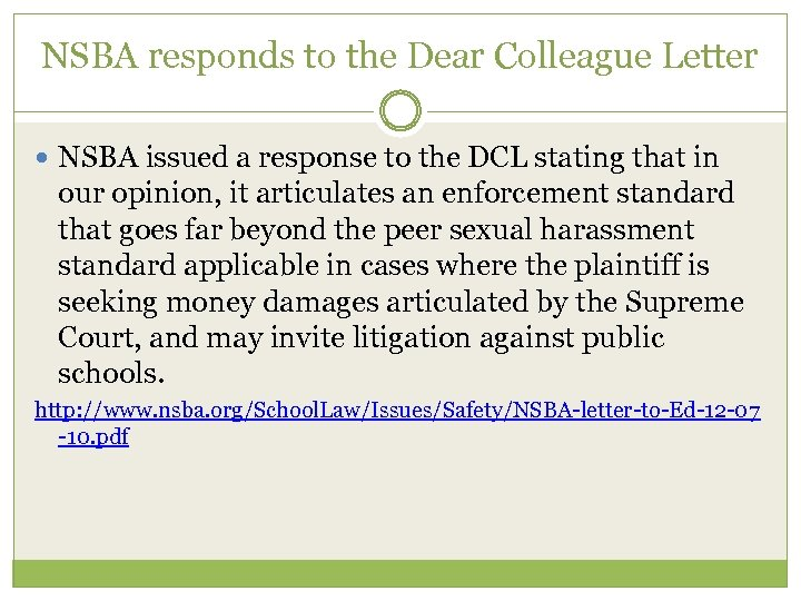 NSBA responds to the Dear Colleague Letter NSBA issued a response to the DCL