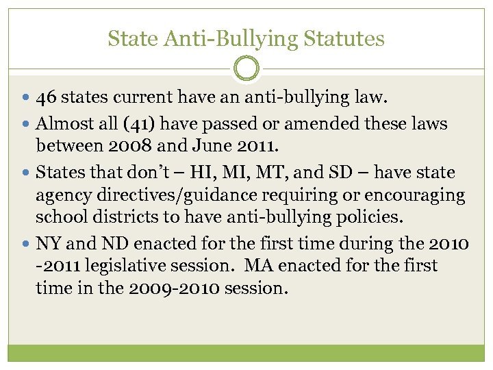 State Anti-Bullying Statutes 46 states current have an anti-bullying law. Almost all (41) have