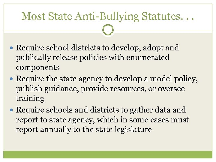 Most State Anti-Bullying Statutes. . . Require school districts to develop, adopt and publically