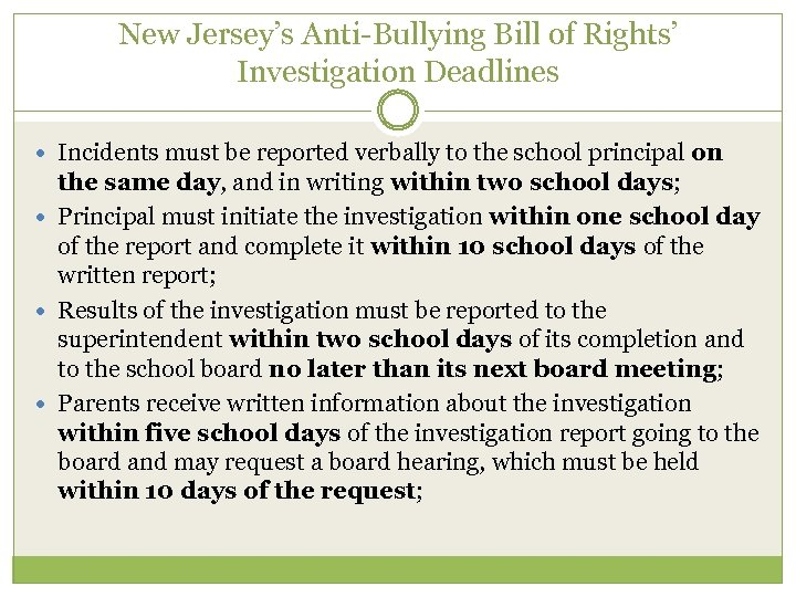 New Jersey's Anti-Bullying Bill of Rights' Investigation Deadlines Incidents must be reported verbally to