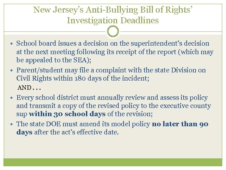New Jersey's Anti-Bullying Bill of Rights' Investigation Deadlines School board issues a decision on