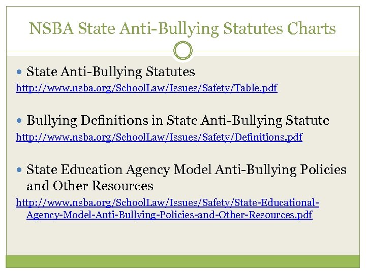 NSBA State Anti-Bullying Statutes Charts State Anti-Bullying Statutes http: //www. nsba. org/School. Law/Issues/Safety/Table. pdf