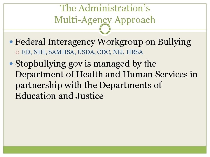 The Administration's Multi-Agency Approach Federal Interagency Workgroup on Bullying ED, NIH, SAMHSA, USDA, CDC,